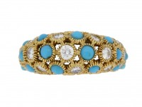 front view Van Cleef & Arpels turquoise and diamond Sultana ring