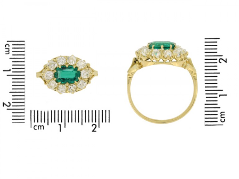 size view Antique emerald and diamond cluster engagement ring