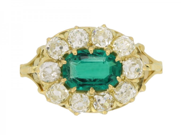 front view Antique emerald and diamond cluster engagement ring