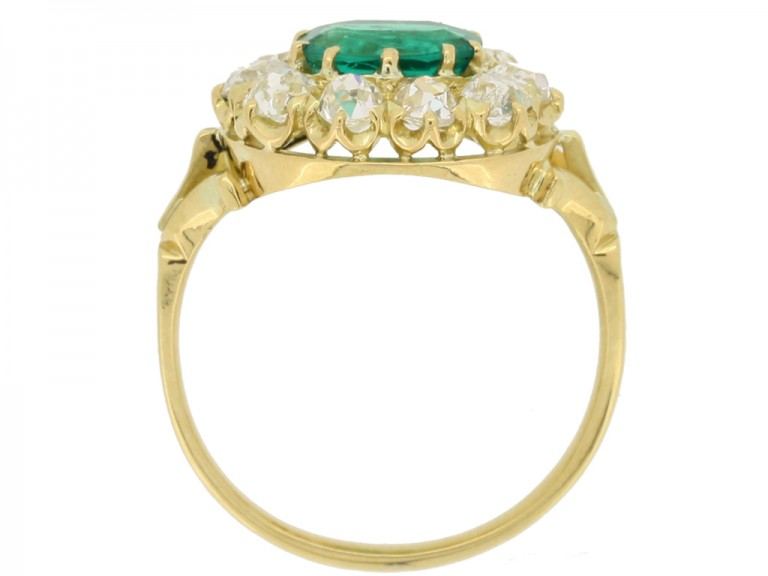 back view Antique emerald and diamond cluster engagement ring