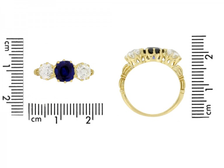 size view Antique sapphire and diamond three stone ring
