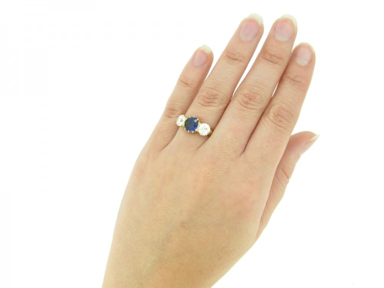 hand view Antique sapphire and diamond three stone ring