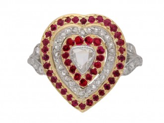 front view Antique diamond and ruby heart shape cluster ring, circa 1900.