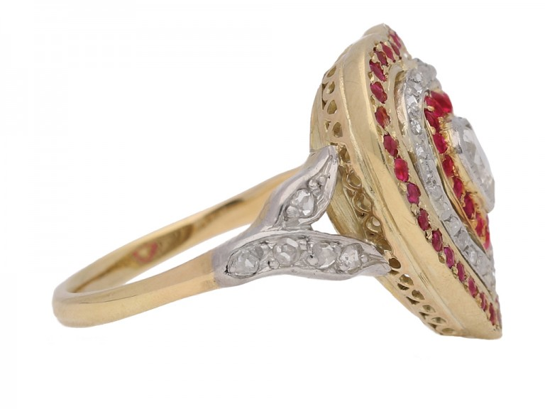 side view Antique diamond and ruby heart shape cluster ring, circa 1900.
