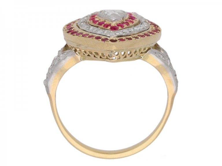 back view Antique diamond and ruby heart shape cluster ring, circa 1900.
