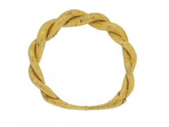 front view Viking gold twisted ring, 9th 10th century AD.