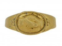 front view Ancient Roman fede betrothal ring,