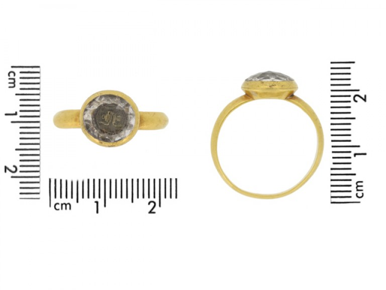 size view Stuart rock crystal love knot ring, circa 17th century.