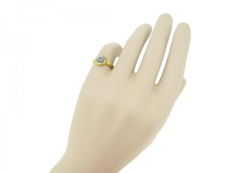 hand view Stuart rock crystal love knot ring, circa 17th century