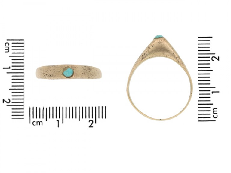 size view Medieval turquoise bishop's stirrup ring
