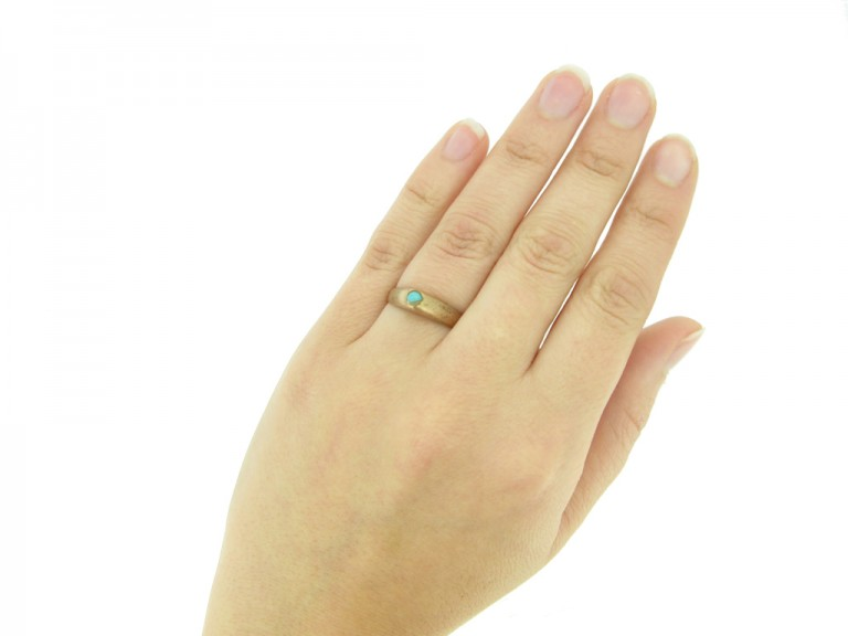 hand view Medieval turquoise bishop's stirrup ring