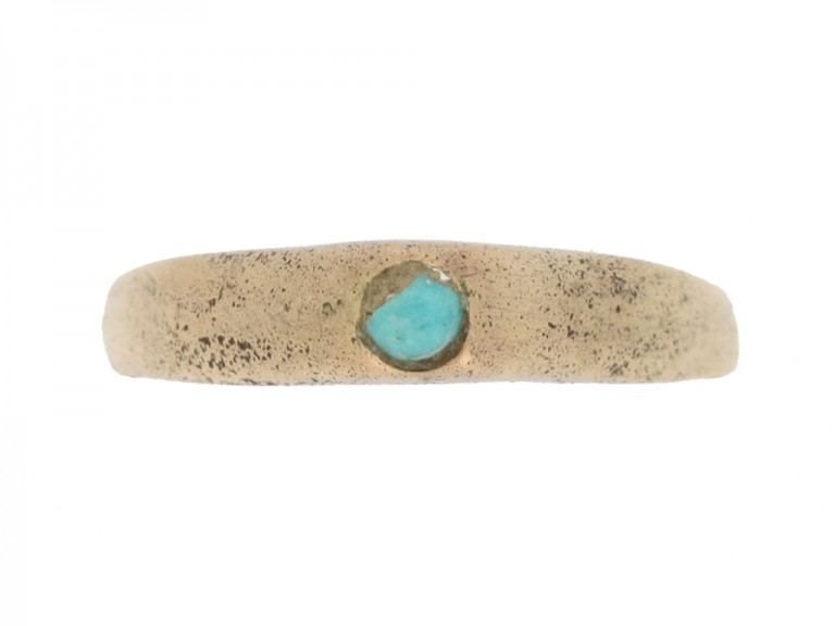 front view Medieval turquoise bishop's stirrup ring