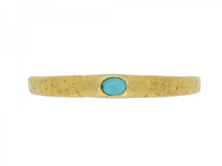 front view Medieval turquoise bishop's stirrup ring, circa 14th century.