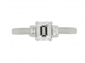 front view Art Deco emerald cut diamond ring berganza hatton garden
