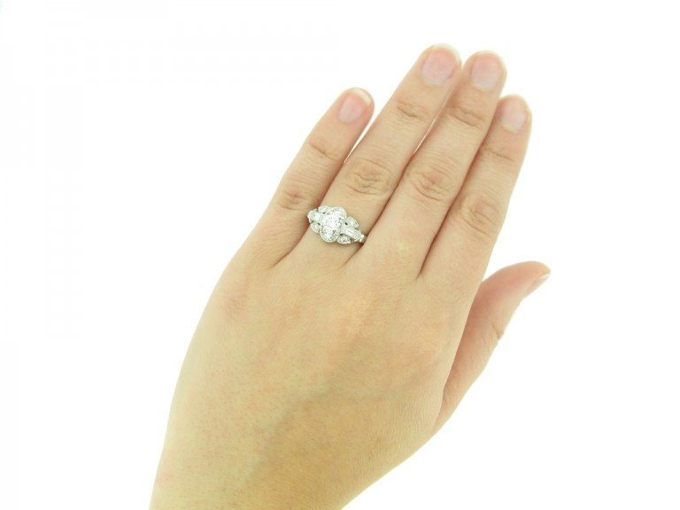 hand front view Vintage diamond cluster engagement ring