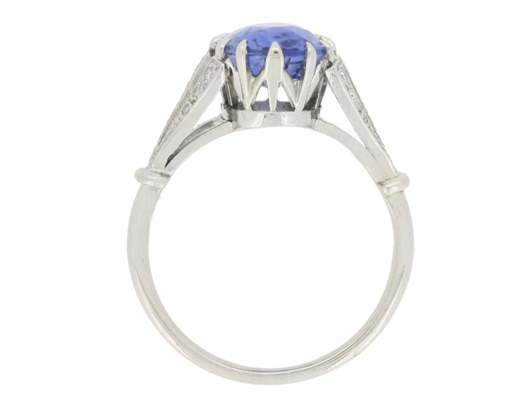 back view Sapphire and diamond engagement ring, circa 1920.