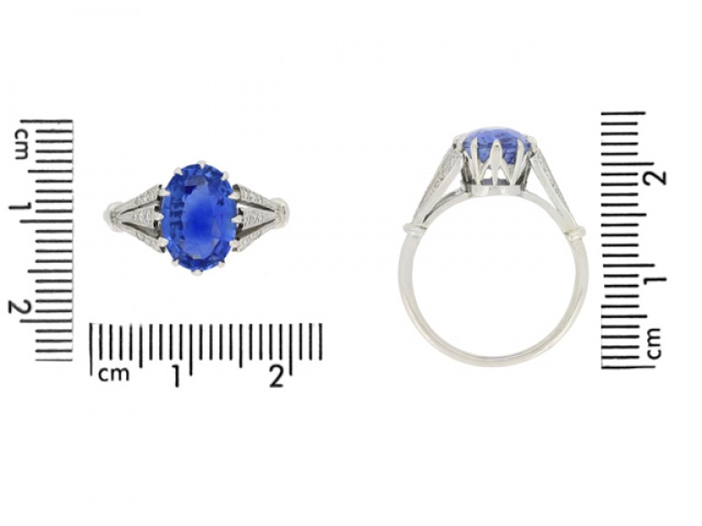 size view Sapphire and diamond engagement ring, circa 1920.