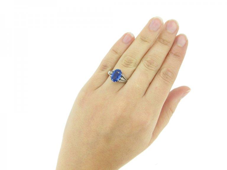 hand view Sapphire and diamond engagement ring, circa 1920.