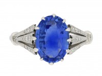 front view Sapphire and diamond engagement ring, circa 1920.