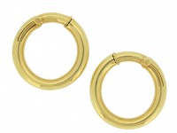 front view Cartier vintage gold hoop earrings, French, circa 1960s.