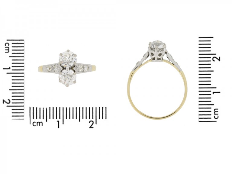 size view Antique diamond two stone ring