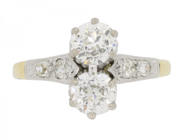 front view Antique diamond two stone ring