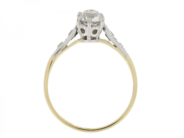back view Antique diamond two stone ring