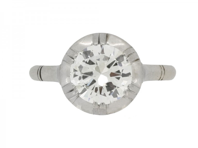 front view Solitaire diamond engagement ring