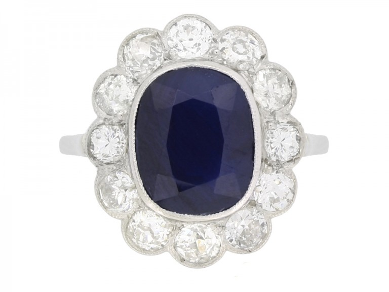 front view Antique sapphire and diamond cluster engagement ring