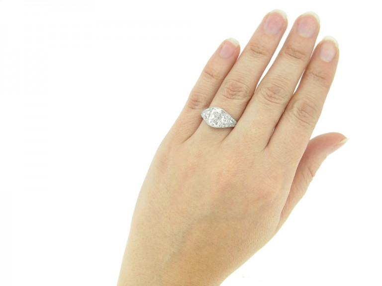 hand view Art Deco diamond engagement ring