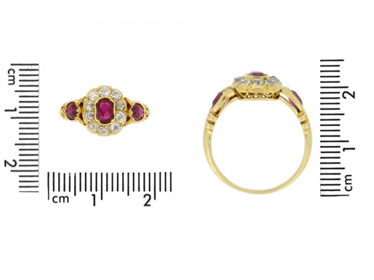 size view Antique ruby and diamond cluster ring