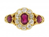 front view Antique ruby and diamo