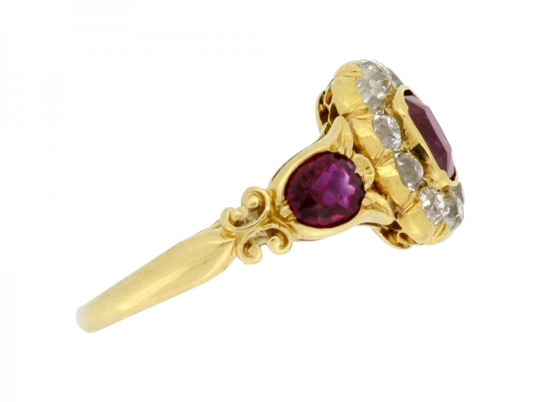 side view Antique ruby and diamond cluster ring