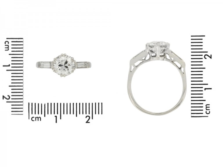 size view Solitaire diamond engagement ring with diamond set shoulders