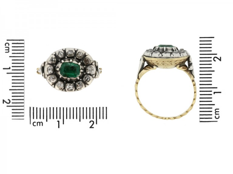 size view Georgian emerald and diamond ornate cluster ring
