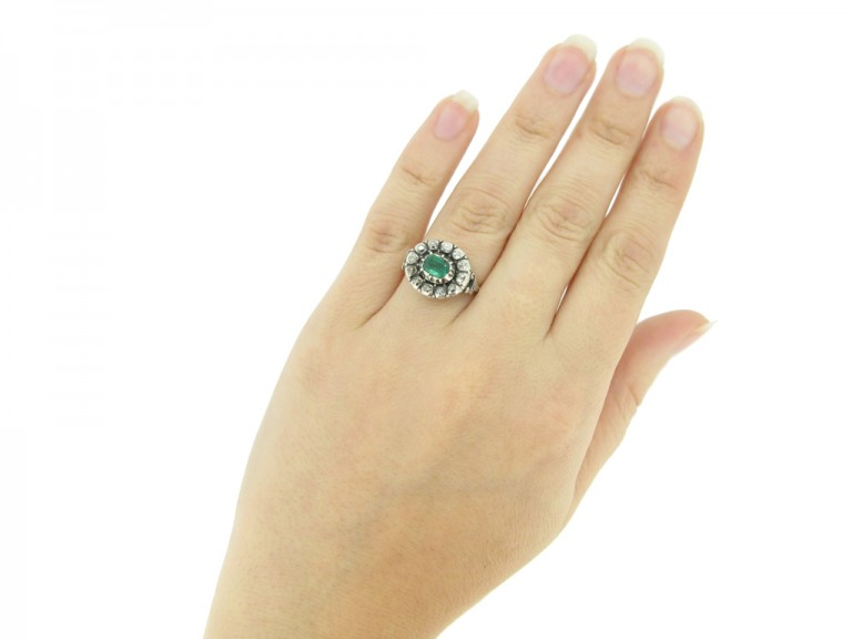 hand view Georgian emerald and diamond ornate cluster ring