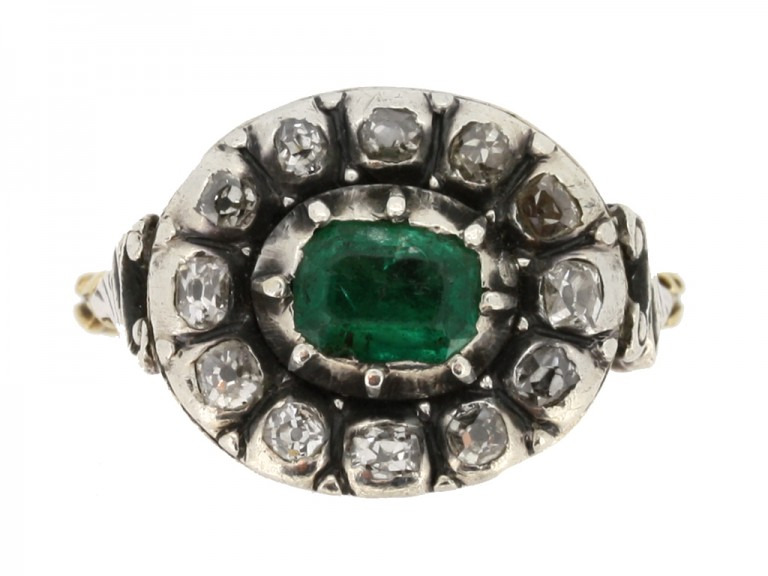 front view Georgian emerald and diamond ornate cluster ring