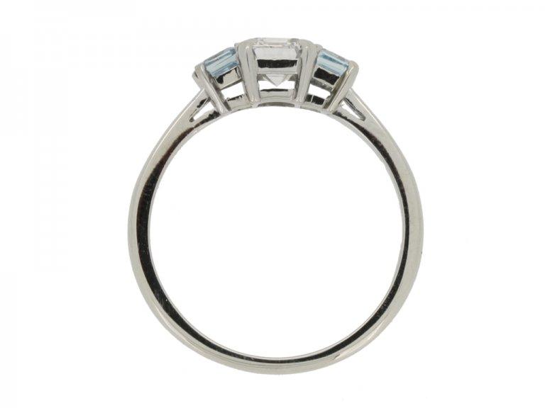 back view Diamond and aquamarine three stone ring