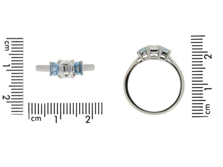 size view Diamond and aquamarine three stone ring