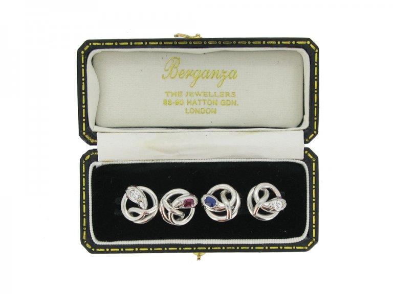 Ruby, sapphire and diamond set snake cufflinks