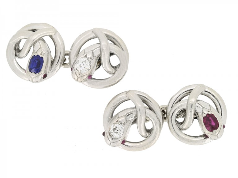 front view Ruby, sapphire and diamond set snake cufflinks