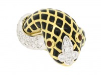 front view David Webb vintage diamond and enamel snake ring