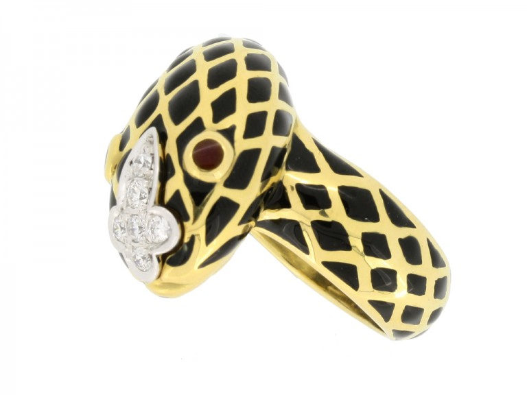 side view David Webb vintage diamond and enamel snake ring