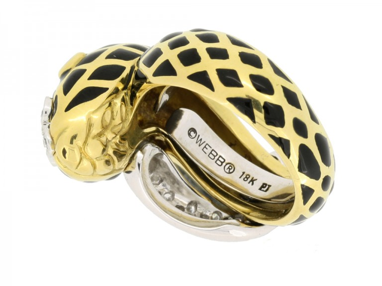 mark view David Webb vintage diamond and enamel snake ring