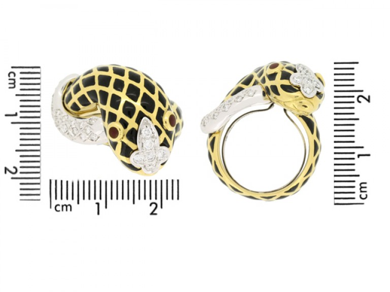 size view David Webb vintage diamond and enamel snake ring