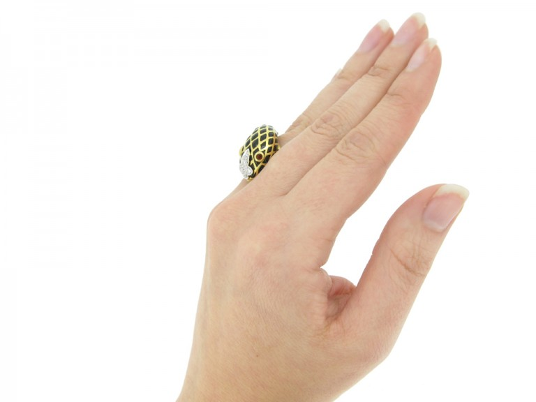 hand view David Webb vintage diamond and enamel snake ring