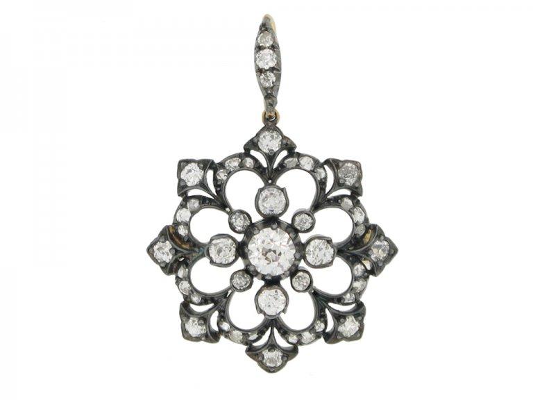 front view Victorian diamond snowflake pendant / brooch, circa 1890. berganza hatton