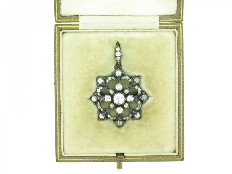 Victorian diamond snowflake pendant / brooch, circa 1890. berganza hatton