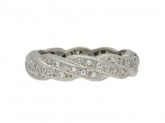 Vintage diamond twist eternity ring, French,