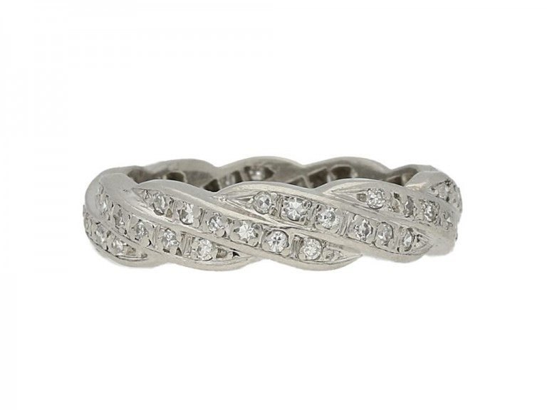 Vintage diamond twist eternity ring, French,